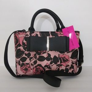 NWT BETSEY JOHNSON FLORAL SATCHEL HANDBAG PURSE